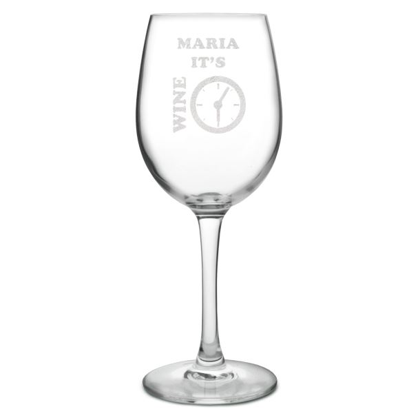 """It's Wine Time Large Personalised Wine Glass 20.5cm (8"""")"""