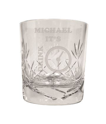 "It's Drink Time Novelty Crystal Whisky Tumbler 9.5cm (3.5"")"
