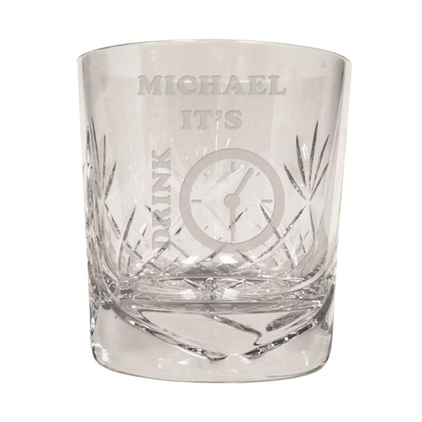 """It's Drink Time Novelty Crystal Whisky Tumbler 9.5cm (3.5"""")"""