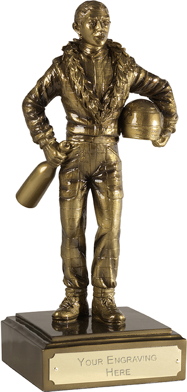 "Detailed Motor Racing Figure Antique Gold Finish 20.5cm (8"")"