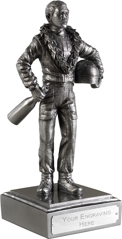 "Detailed Motor Racing Figure Antique Silver Finish 25.5cm (10"")"