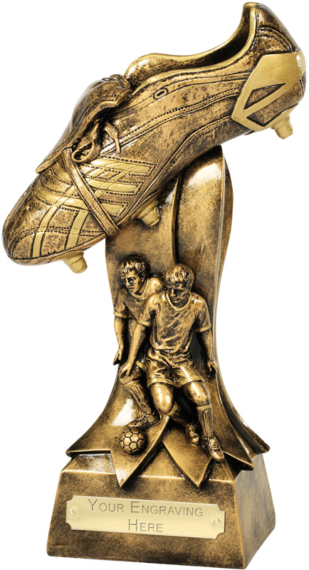 "Antique Gold Football Boot Tackle Trophy 26cm (10.25"")"