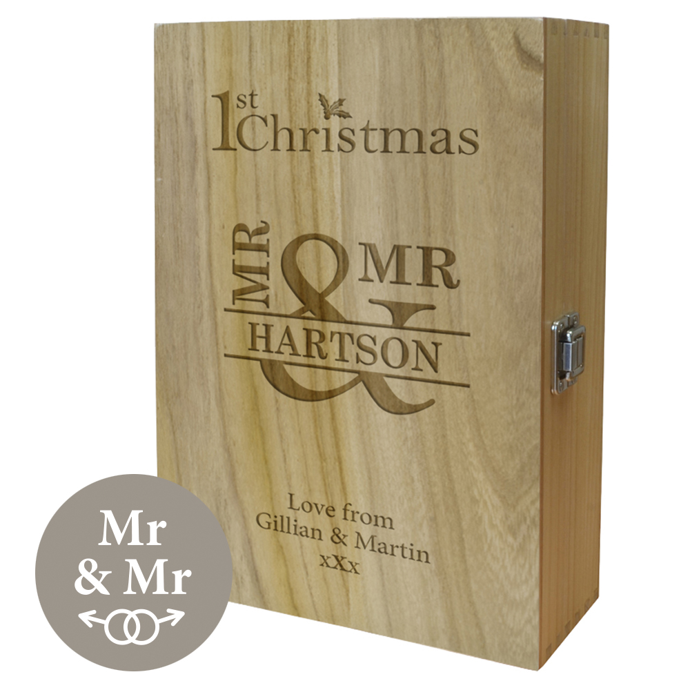"Mr & Mr 1st Christmas Double Wine Box 35cm (13.75"")"