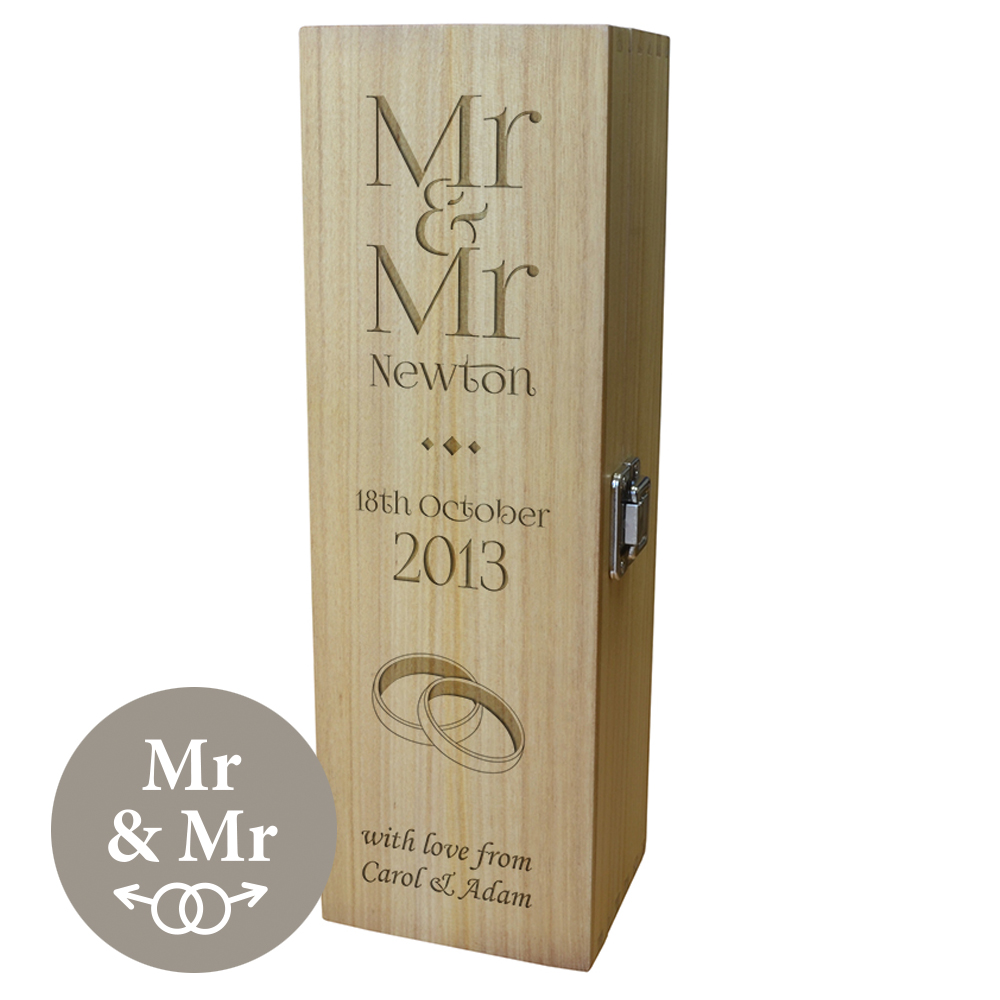 """Personalised Wooden Wine Box with Hinged Lid - Wedding Mr & Mr 35cm (13.75"""")"""