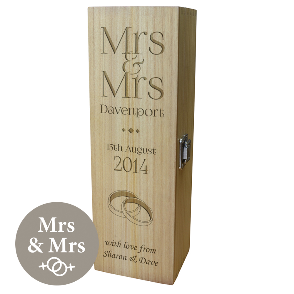 """Personalised Wooden Wine Box with Hinged Lid - Wedding Mrs & Mrs 35cm (13.75"""")"""