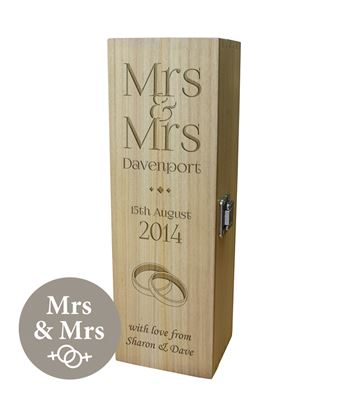 "Personalised Wooden Wine Box with Hinged Lid - Wedding Mrs & Mrs 35cm (13.75"")"