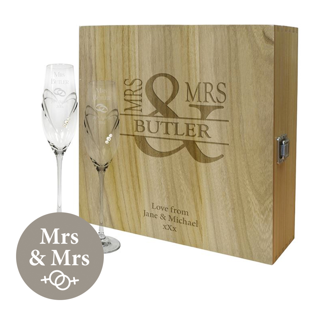 "Mrs & Mrs Personalised Wine Box & Champagne Flutes Gift Set 35cm (13.75"")"