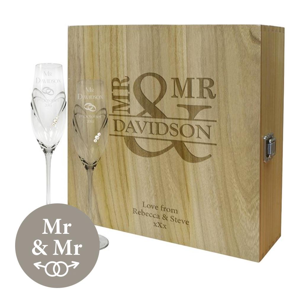 "Mr & Mr Personalised Wine Box & Champagne Flutes Gift Set 35cm (13.75"")"