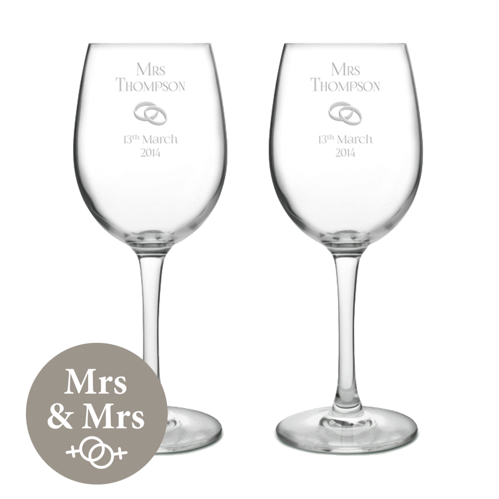 "Mrs & Mrs Wedding/Anniversary Personalised Wine Glass Set 20.5cm (8"")"