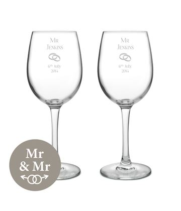 "Mr & Mr Wedding/Anniversary Personalised Wine Glass Set 20.5cm (8"")"