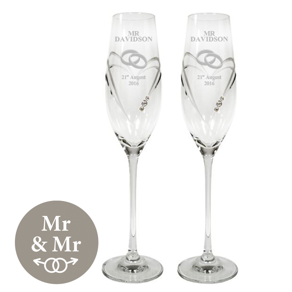 "Mr & Mr Wedding/Anniversary Diamond Cut Champagne Flutes with Swarovski Crystals 26.5cm (10.5"")"