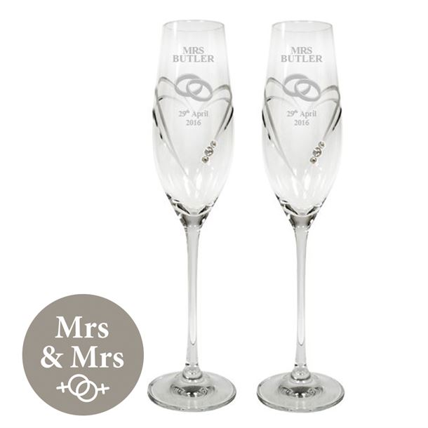 "Mrs & Mrs Wedding/Anniversary Diamond Cut Champagne Flutes with Swarovski Crystals 26.5cm (10.5"")"