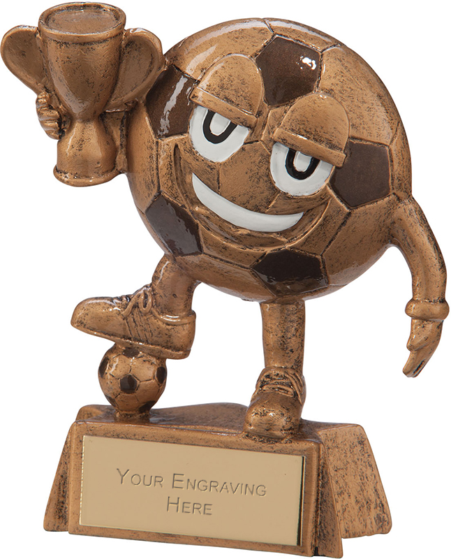 "Children's Bronze Resin Happy Little Football Trophy 9cm (3.5"")"