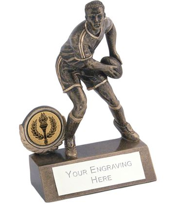 "Mini Male Rugby Trophy 10.5cm (4.25"")"