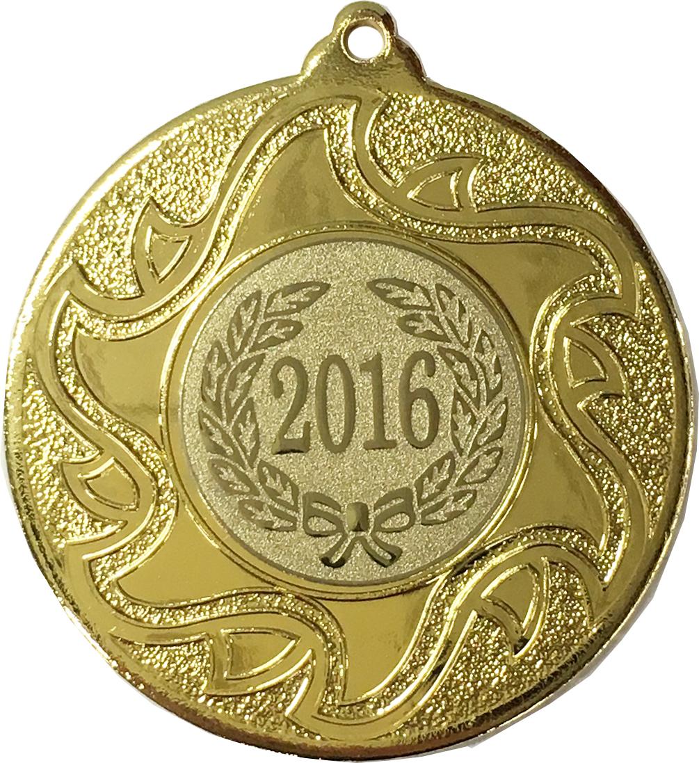 """2016 Gold Sunburst Star Patterned Medal 50mm (2"""")"""