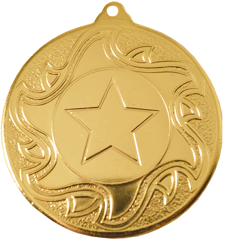 "Gold Sunburst Star Patterned Medal 50mm (2"")"