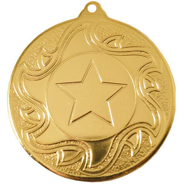 """Gold Sunburst Star Patterned Medal 50mm (2"""")"""
