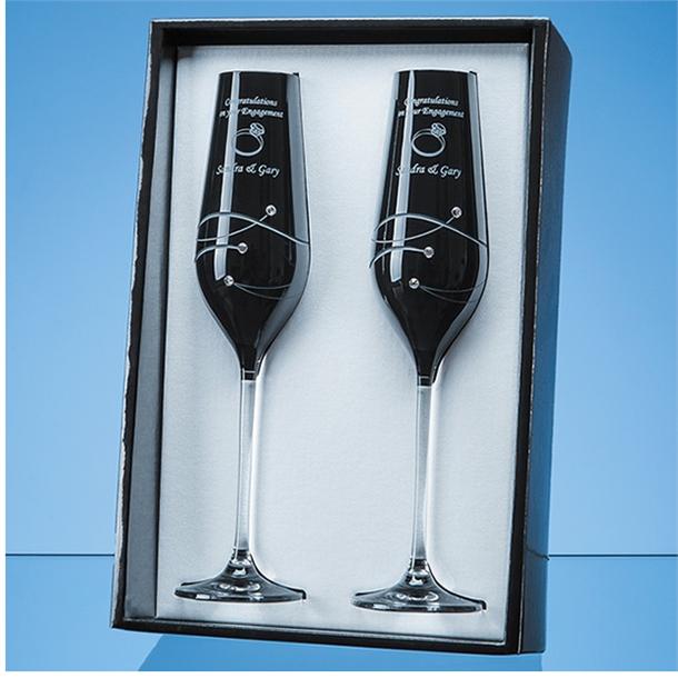 "Diamond Cut Double Black Champagne Flutes with Swarovski Crystals 26.5cm (10.5"")"