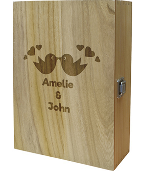 "Love Birds Double Wine Box 35cm (13.75"")"
