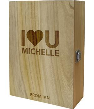 "I Heart U Double Wine Box 35cm (13.75"")"