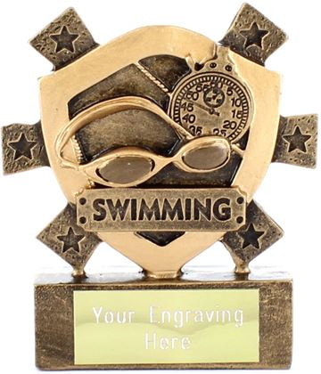 "Swimming Mini Shield Trophy 8cm (3.25"")"