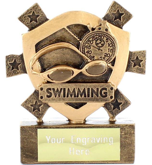 "Swimming Mini Shield Trophy 8cm (3.25"")"