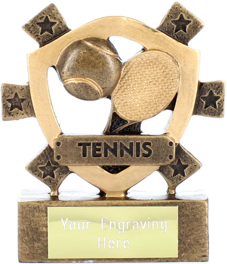 "Tennis Mini Shield Trophy 8cm (3.25"")"