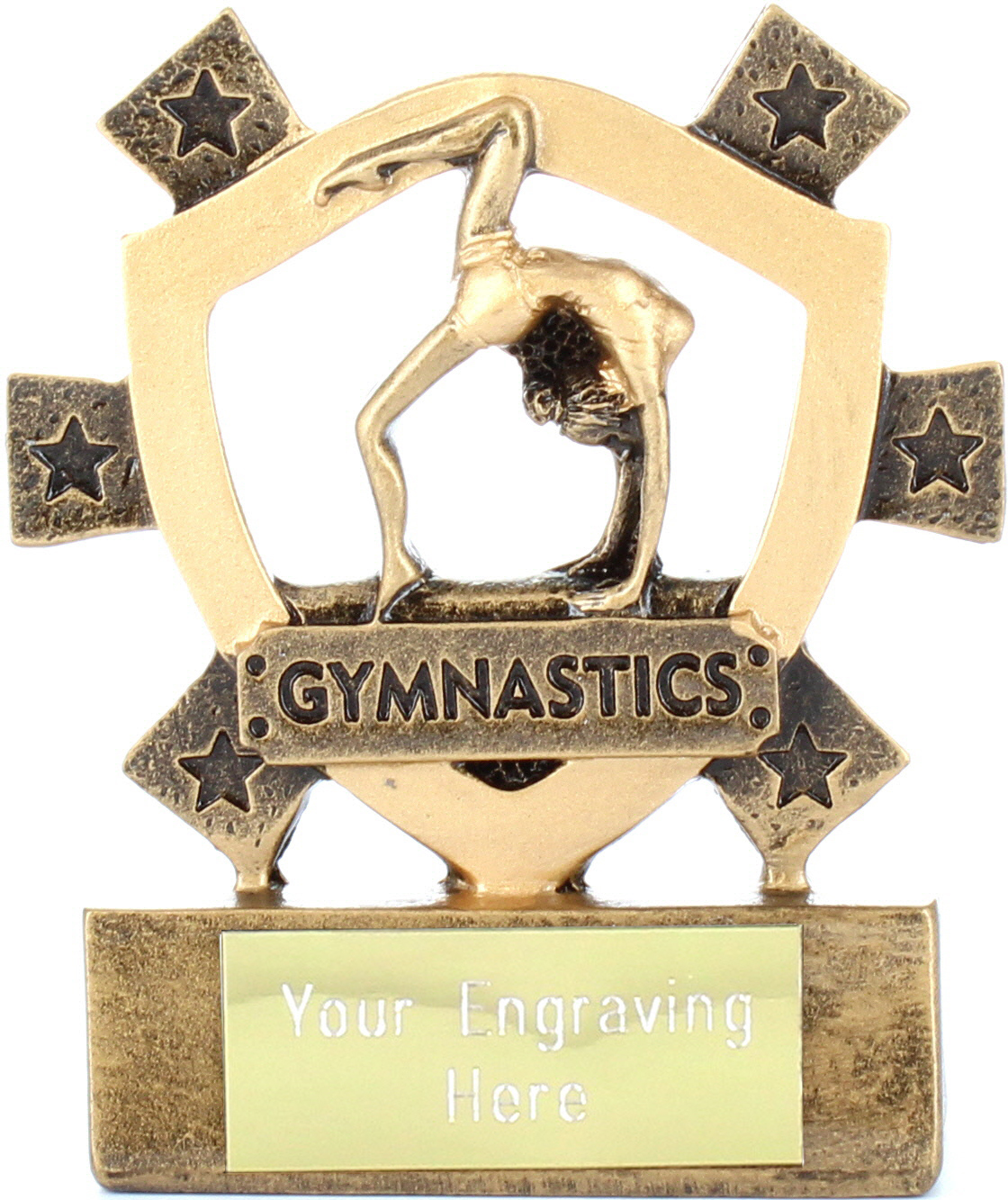 "Female Gymnastics Mini Shield Trophy 8cm (3.25"")"