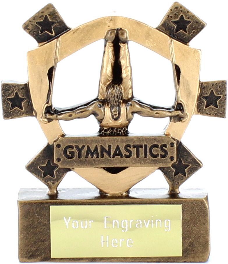 "Male Gymnastics Mini Shield Trophy 8cm (3.25"")"