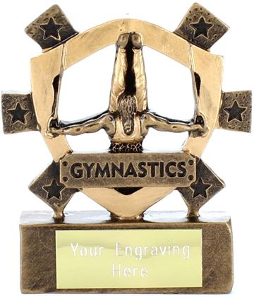 "Male Gymnastics Mini Shield Trophy 8cm (3.25"")"