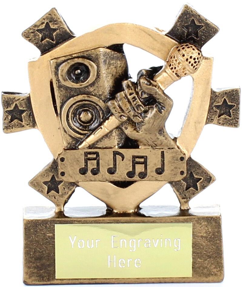 """Karaoke Mini Shield Trophy 8cm (3.25"""")"""