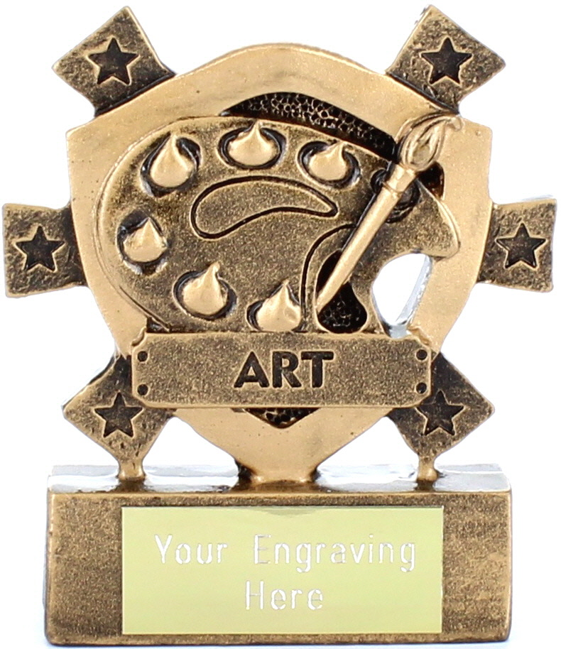 "Art Mini Shield Trophy 8cm (3.25"")"