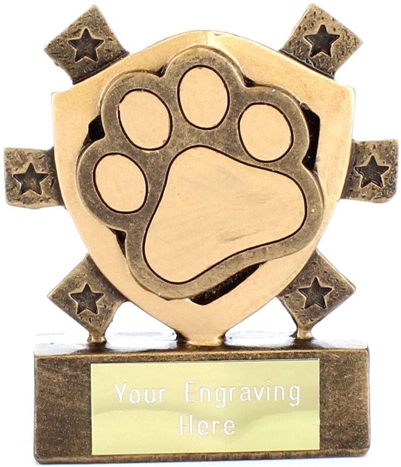 """Pet Paw Mini Shield Trophy 8cm (3.25"""")"""