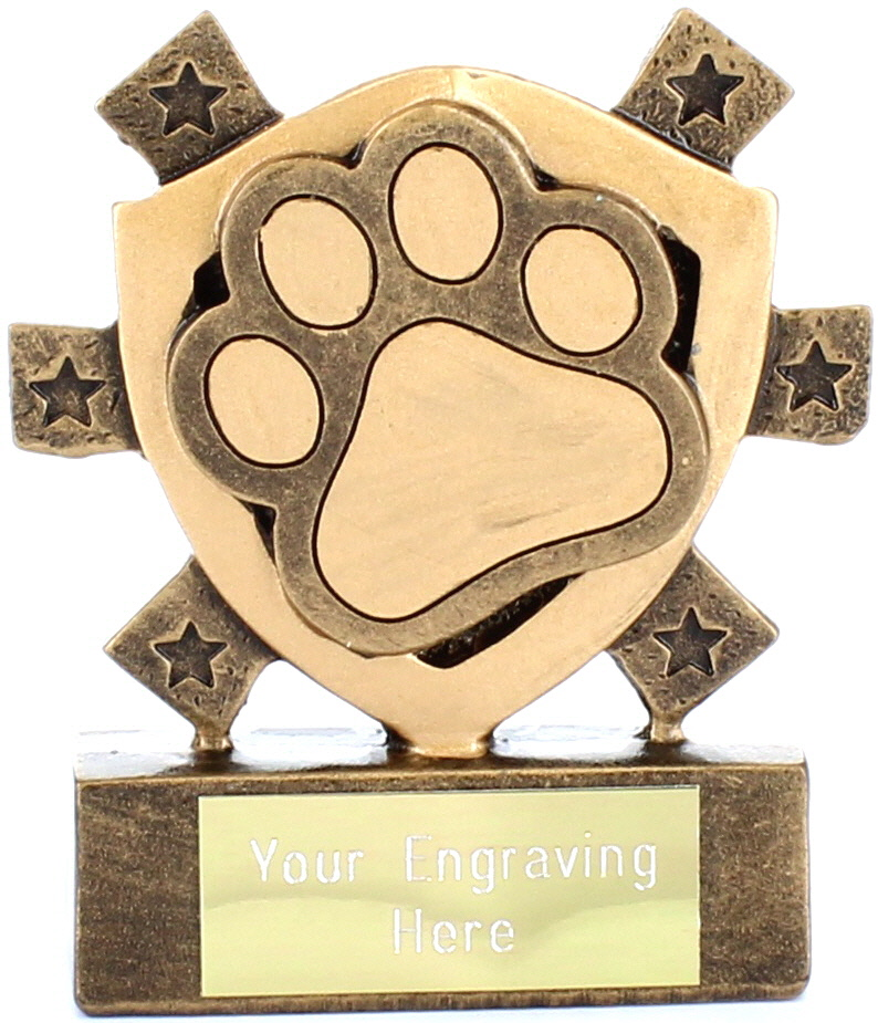 "Pet Paw Mini Shield Trophy 8cm (3.25"")"