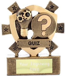 "Quiz Mini Shield Trophy 8cm (3.25"")"