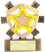 "Yellow Star Mini Shield Trophy 8cm (3.25"")"