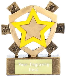 "Yellow Star Mini Shield Trophy 8cm (3.25"")"