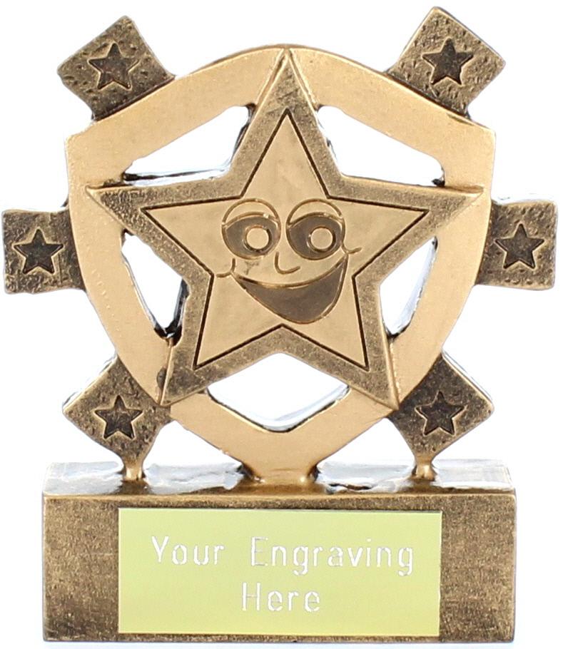 "Smiley Star Mini Shield Trophy 8cm (3.25"")"