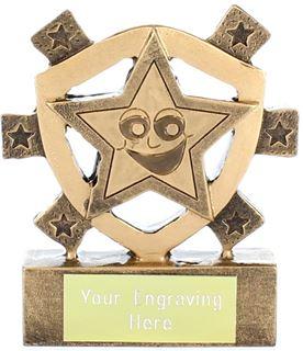 "Happy Star Mini Shield Trophy 8cm (3.25"")"