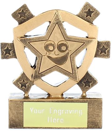 "Happy Star Mini Shield Trophy 8cm (3.25"")"