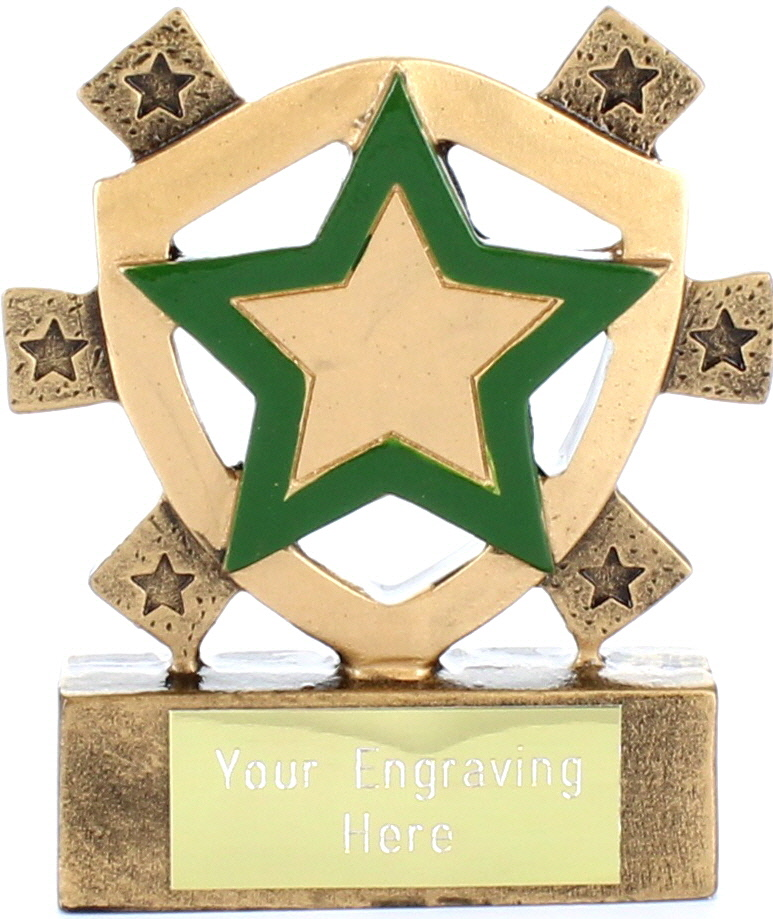 "Green Star Mini Shield Trophy 8cm (3.25"")"