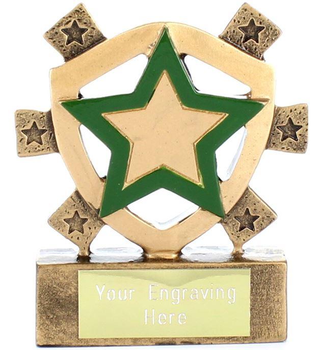 "Green Star Mini Shield Trophy 8cm (3.25"")"