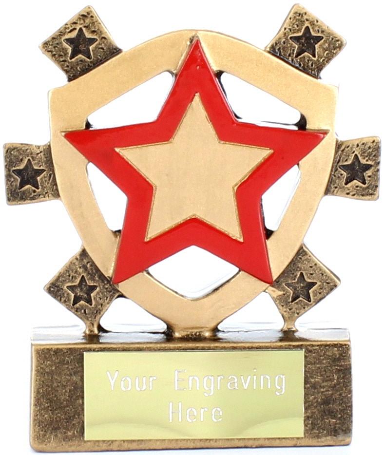 "Red Star Mini Shield Trophy 8cm (3.25"")"