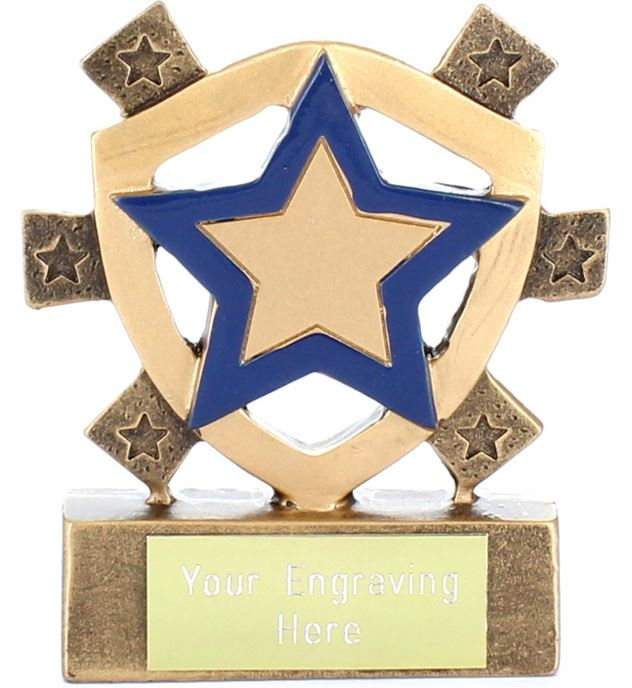 "Blue Star Mini Shield Trophy 8cm (3.25"")"