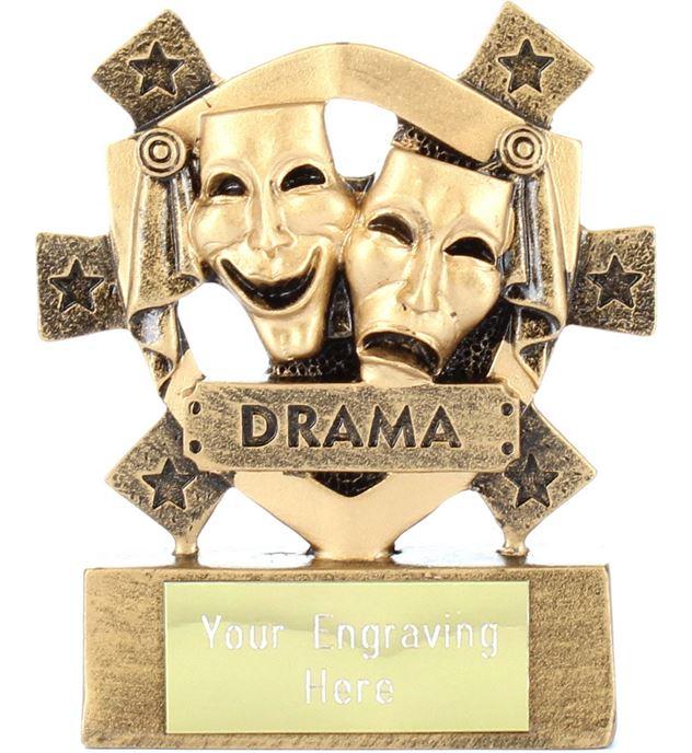 "Drama Mini Shield Trophy 8cm (3.25"")"