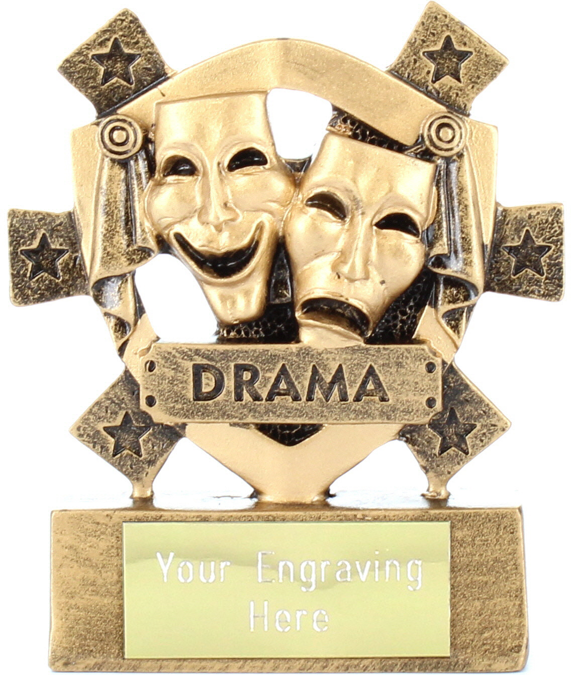 "Drama Mini Shield Trophy 8cm (3.25"")"
