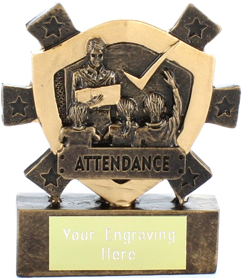 "Attendance Mini Shield Award 8cm (3.25"")"