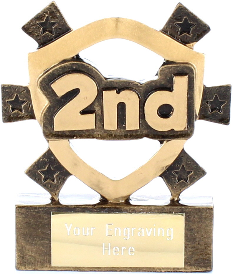 "2nd Place Mini Shield Award 8cm (3.25"")"