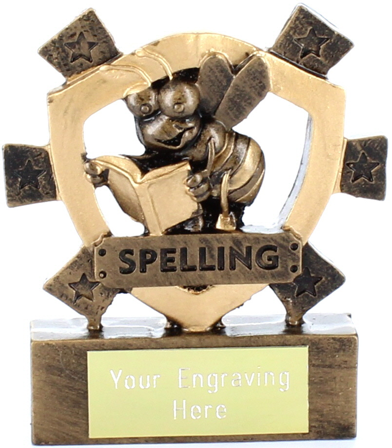 "Spelling Mini Shield Award 8cm (3.25"")"