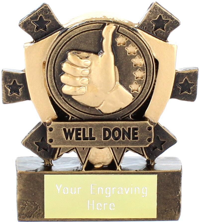 "Well Done Mini Shield Award 8cm (3.25"")"